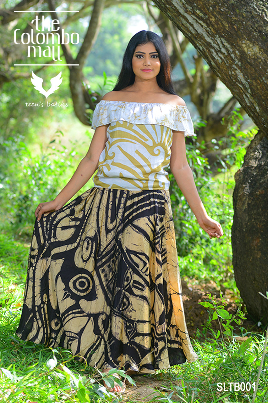 Silk Batik Long Skirt with Off-shoulder Top