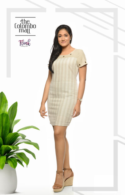 Stripe Beige Linen Midi Dress Office Wear Sri Lanka