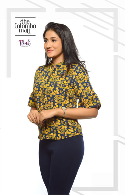 Daisy Floral Flounce Sleeve Office Wear Sri Lanka