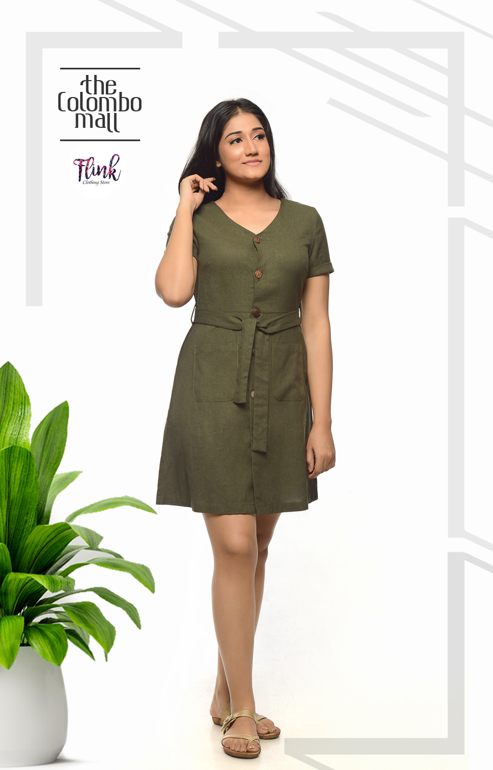 Green Fling Aline Linen Dress Office Wear Sri Lanka