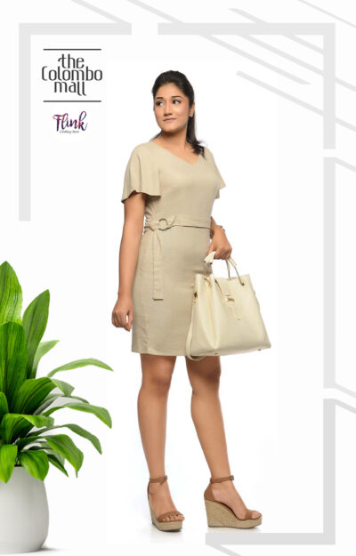 Beige Flutter Sleeve Ladies Office Wear Sri Lanka
