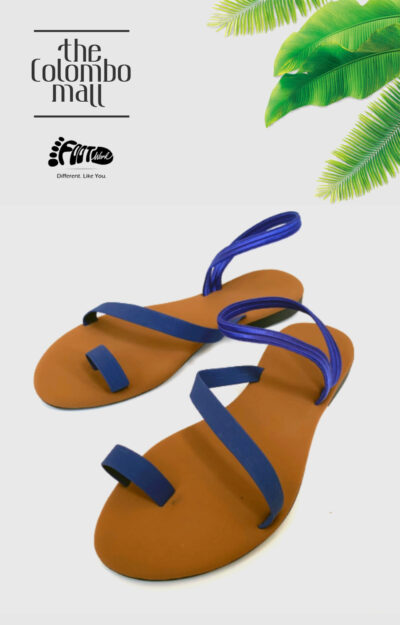 Blue & Tan Ankle Strap Ladies Shoes Sri Lanka
