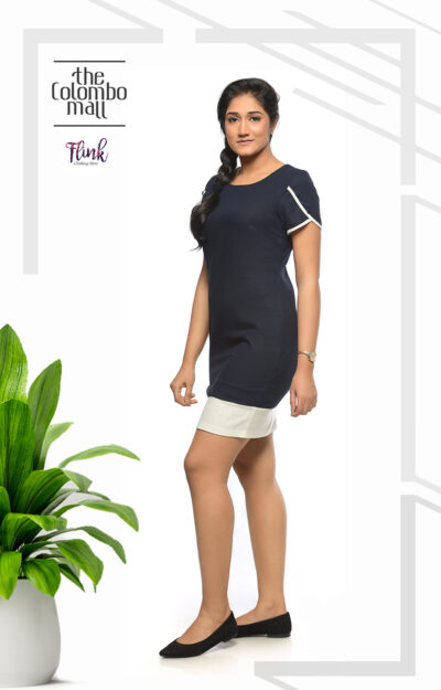 Navy Blue Formal Shift Dress Office Wear Sri Lanka