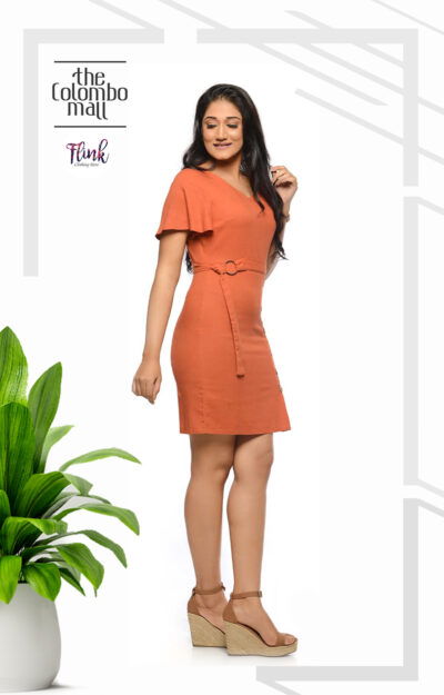 Tangerine Flutter Sleeve Ladies Office Wear Sri Lanka