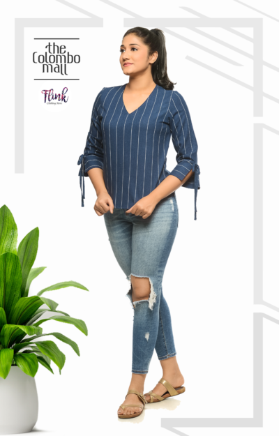 Blue V-Neck Top Sri Lanka