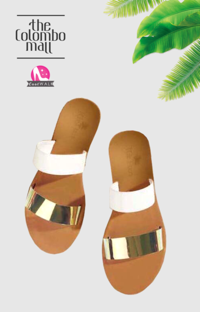 Silver and White Two Strap Ladies Sandal Sri Lanka