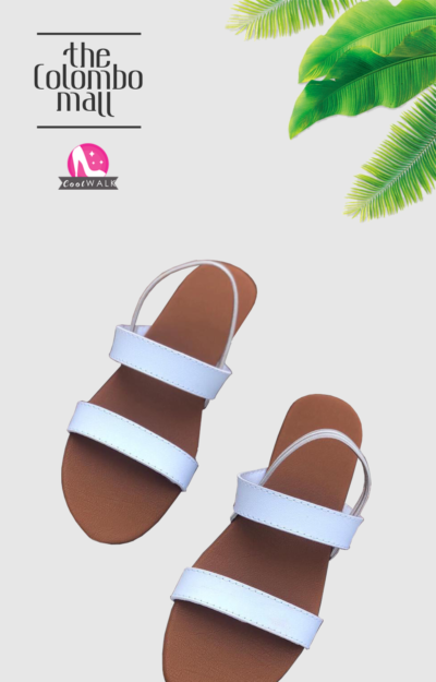 White & Tan Ankle Strap Ladies Sandal Sri Lanka