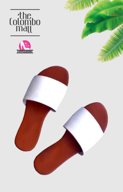 White and Brown Slide Ladies Sandal Sri Lanka