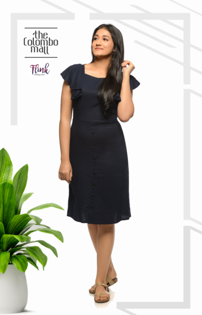 Navy Blue Wings Linen Dress