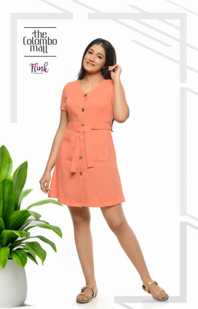 Orange Fling Aline Linen Dress