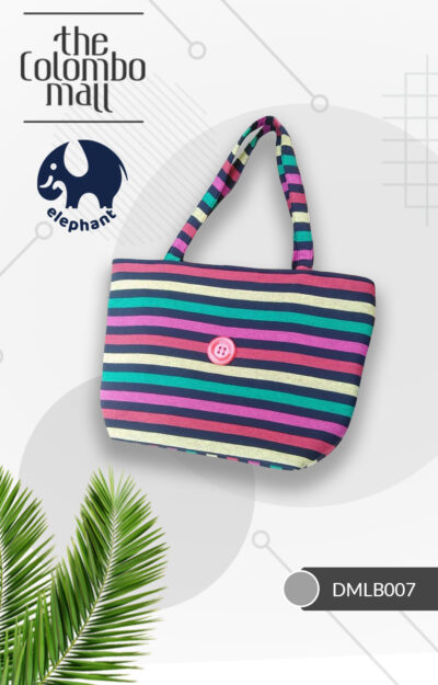 Black & Pink Color Stripe Handloom Fabric Handbag