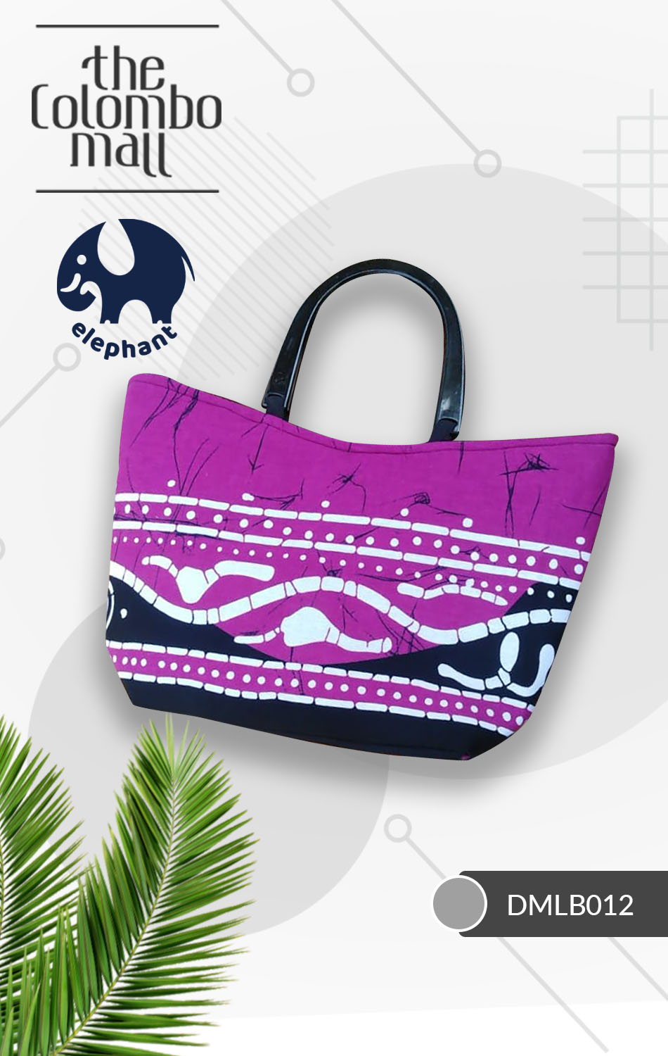 Purple & White Batik Fabric Handbag