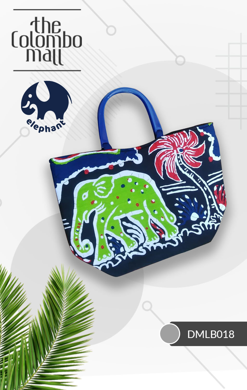 Navy Blue Batik Fabric Handbag