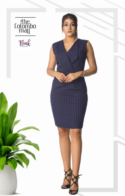 Navy Blue Stripped Dress