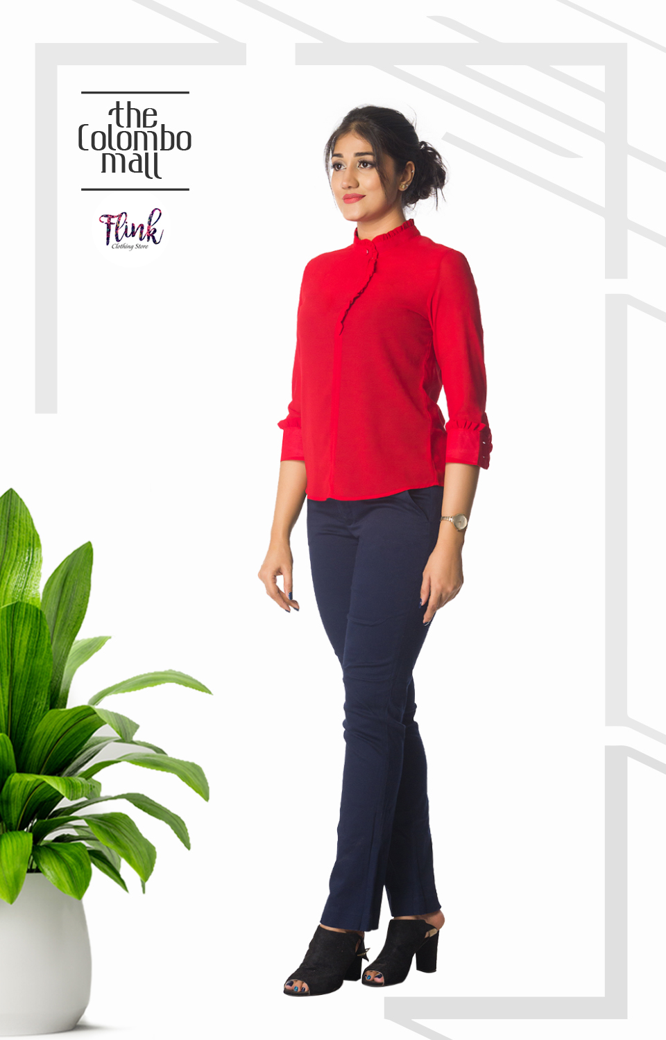 Red Frill Collar Top