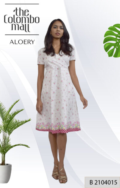 Cotton Printed Pleated Dress