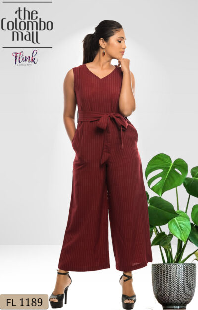 Wine Red Bow Jumpsuit