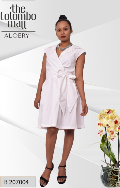 Pleated Crossover Collar Dress - Kate