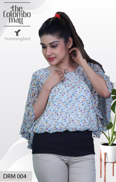 Butterfly Sleeve Chiffon Printed Top